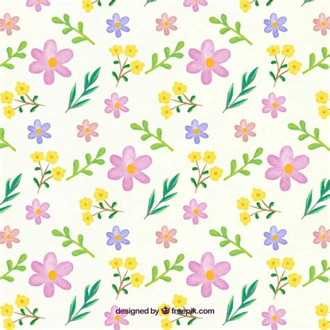 watercolor flowers pattern vector free download floral pattern in watercolor style vector free download