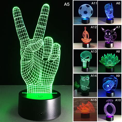 color changing night light 3d panel acrylic usb color changing led night light