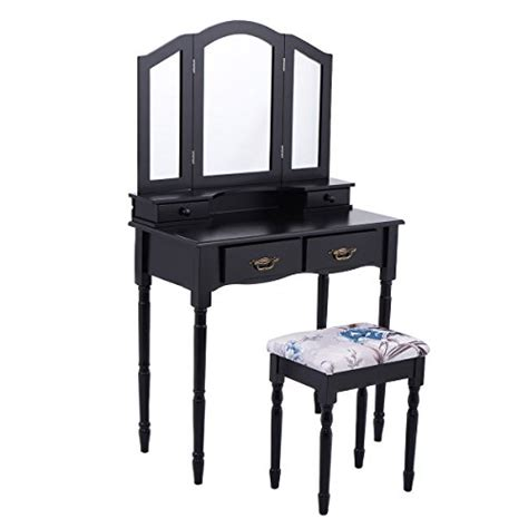 giantex tri folding mirror vanity makeup table stool set