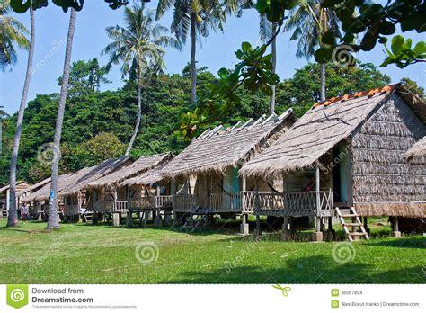 bamboo bungalows in rabbit island cambodia stock images - Rabbit Island Cambodia Bungalows