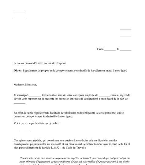 modele lettre harcelement au travail document