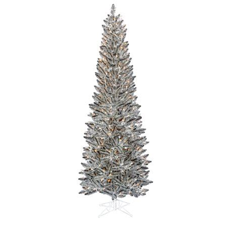 walmart pencil christmas trees artificial 7 5 pre lit silver pewter artificial tinsel pencil tree clear lights walmart