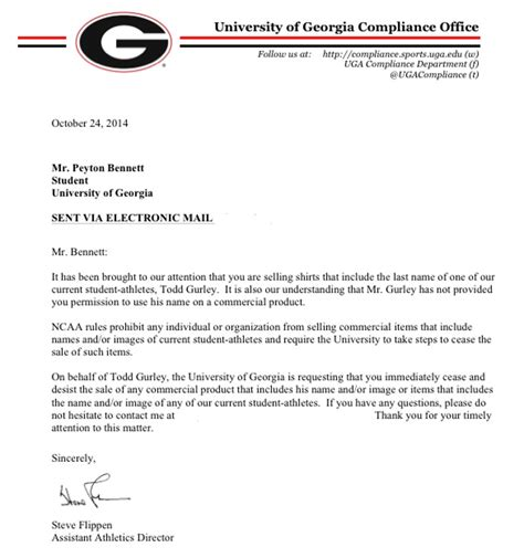 Georgian College Acceptance Letter uga halts gurley merchandise entrepreneurs