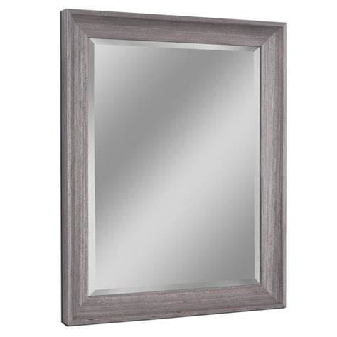 Gray Bathroom Mirror Shop Allen Roth 26 In X 32 In Light Gray Rectangular Framed Bathroom Mirror At Lowes