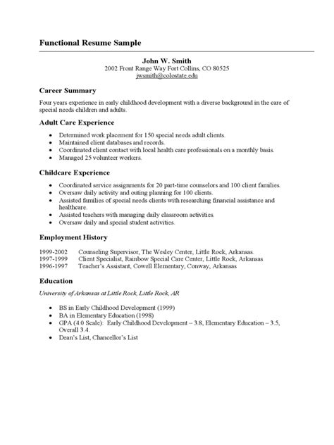 Functional Resume Exle by Free Functional Resume Templates