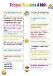 english worksheet tongue twisters for kids