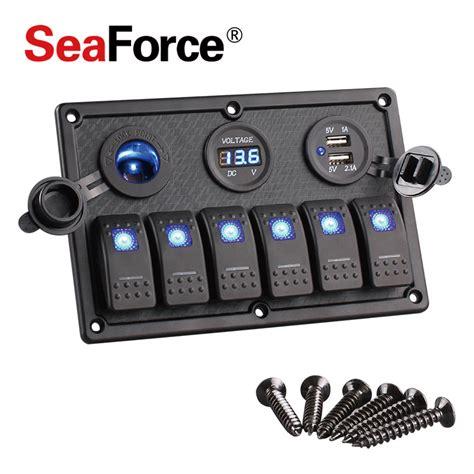 marine switch panel with usb 6 gang boat rocker switch panel led switch usb marine