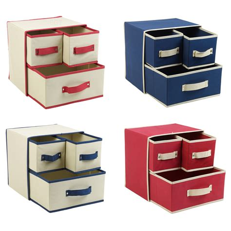 Fabric Drawer Storage by Collapsible Fabric 3 Drawer Storage Boxes Containers Bits