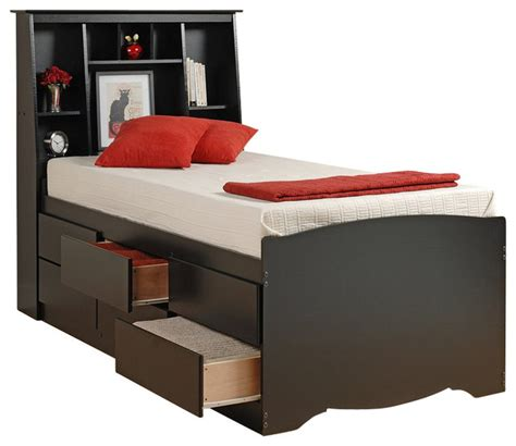 prepac black sonoma bookcase platform storage bed transitional platform beds by