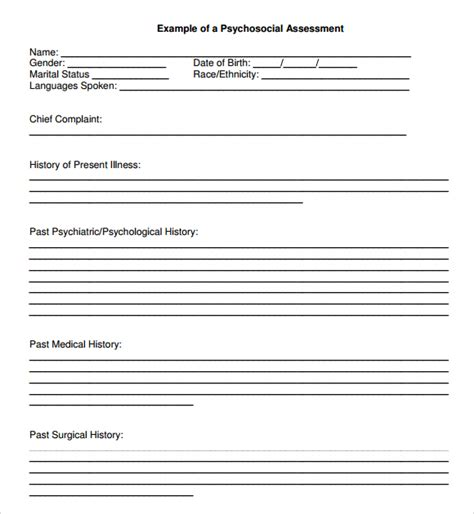 psychosocial assessment template sle psychosocial assessment 8 documents in word pdf