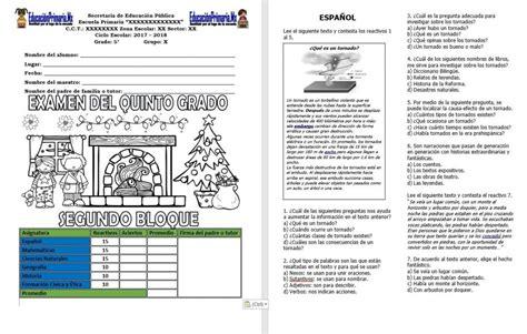 respuestas de examen 5 grado 4 bloque examen del quinto grado del segundo bloque del ciclo