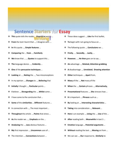 thesis statement starters sentence starters for essay writing by missprodigy