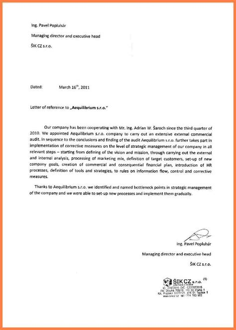 Official Letter With Reference 8 Letter Of Recommendation For A Company Company Letterhead