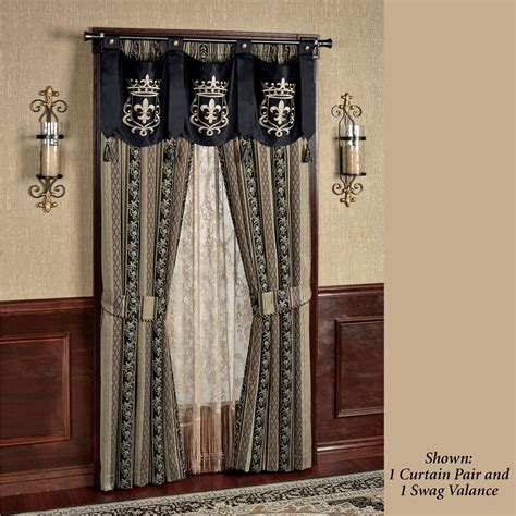 swag window curtains fontainebleau tailored swag valance window treatment