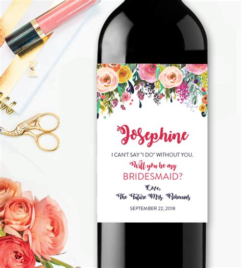 editable wine label will you be my bridesmaidwatercolor