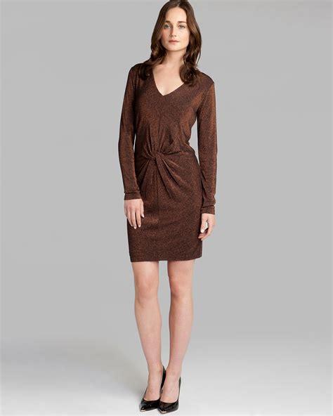 Ted Baker Ligth Browen lyst ted baker lizzey sparkle dress in brown