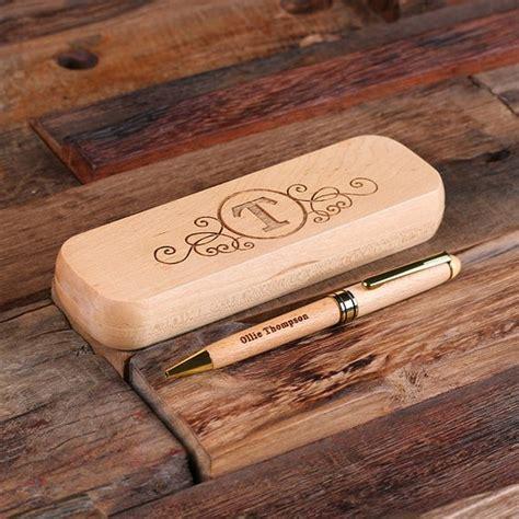 desk pen sets engraved personalized wood desktop pen set engraved and monogrammed