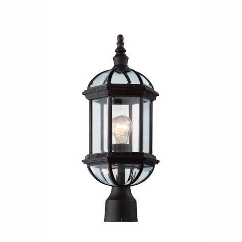 Bel Air Lighting Atrium 1 Light Outdoor Black Post Top Outdoor Light Lantern
