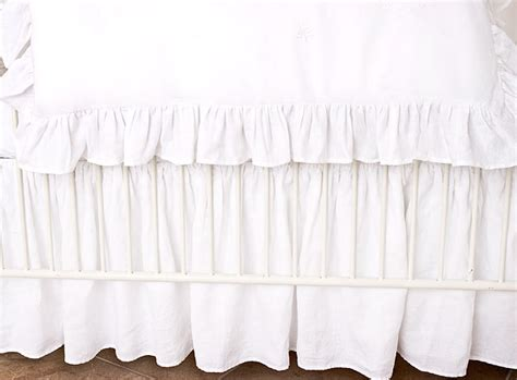 White Crib Bed Skirt by B 233 B 233 Papillon European Styled Baby Linens Bedding Crib