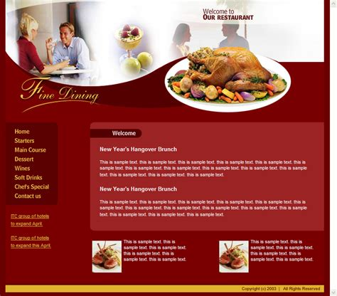 free templates for restaurant website website restaurant and templates on pinterest