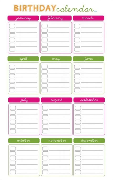 birthday reminder calendar template birthday reminder calendar template aztec