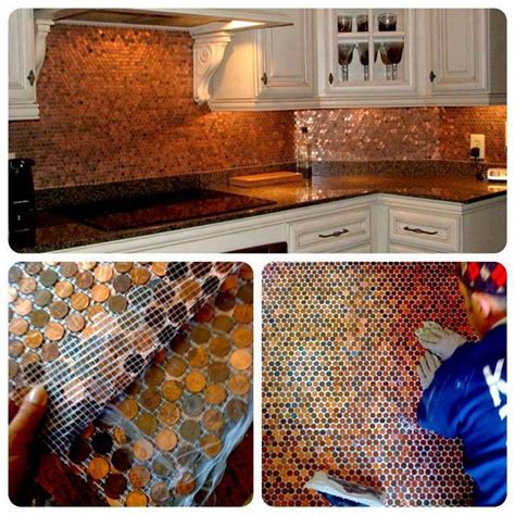 Penny Kitchen Backsplash | how to make a beautiful floor with a few pennies sq ft