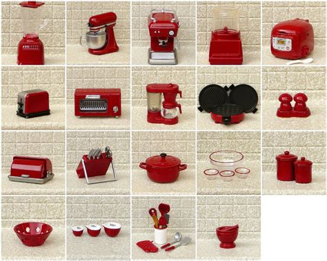 Red Kitchen Appliance Set - my re ment red re painted miniature kitchen appliances flickr