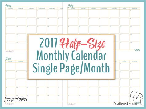 printable letters one per page 2017 half size monthly calendar printables