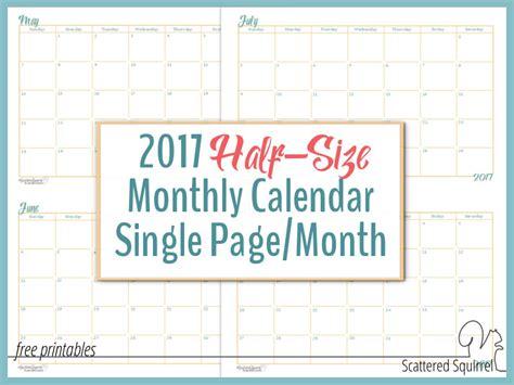 printable calendar half sheet 2017 half size monthly calendar printables