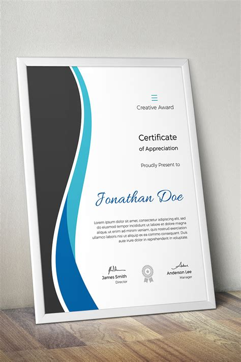 creative award certificate template