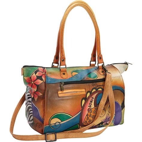 painted leather handbags by anuschka painted large tote 2 colors leather handbag new ebay