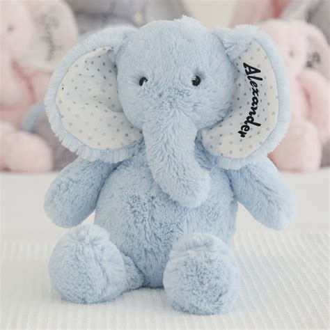 personalised blue elephant soft toy my 1st years