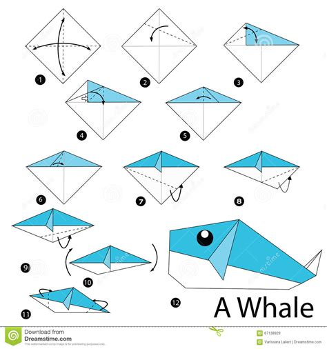 Steps To Make Origami - step by step how to make origami a whale