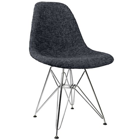 Black Fabric Upholstered Mid Century Eames Style Accent Black Fabric Dining Chairs