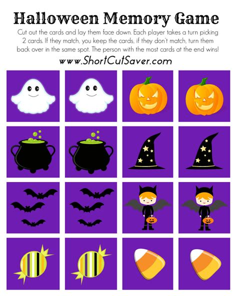 halloween haircut games free printable halloween memory game short cut saver