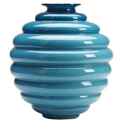 Venini Glass Vase by Venini Glass Vase Murano Blue Beehive Signed Italy 1990 S