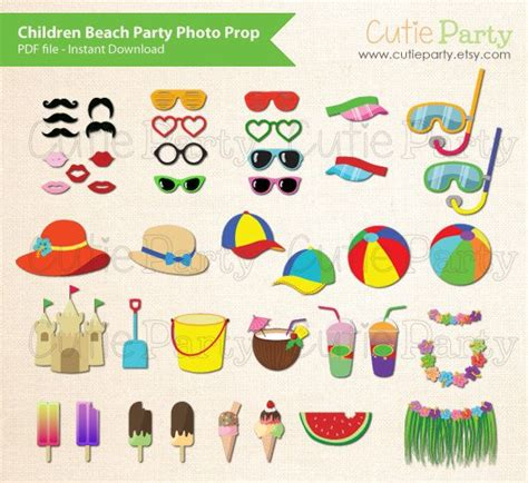 printable photo booth props beach children beach party photo booth prop children pool party