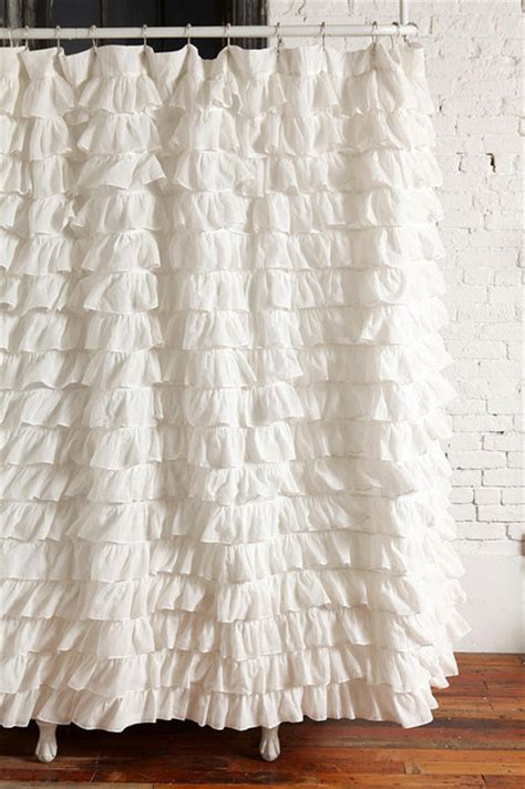 Waterfall Ruffle Shower Curtain Ivory Contemporary