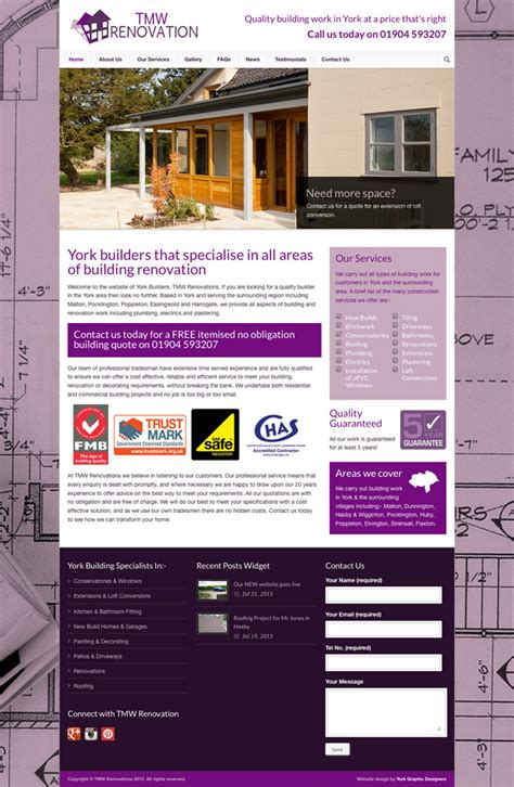 renovation websites website design for york builders tmw renovation