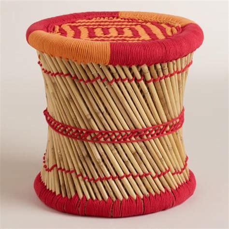 and orange woven reed stool world market