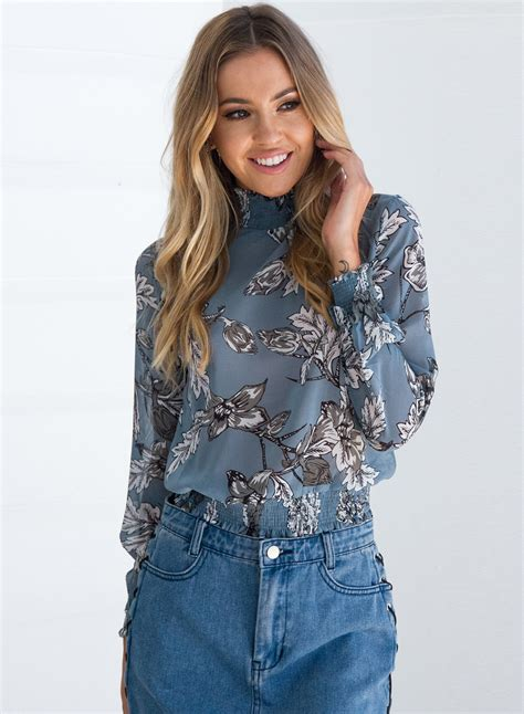 Sleeve Chiffon Blouse s high neck sleeve floral print chiffon blouse