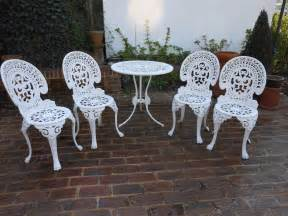 cast aluminum patio table and chairs vintage cast aluminium garden table and 4 chairs patio