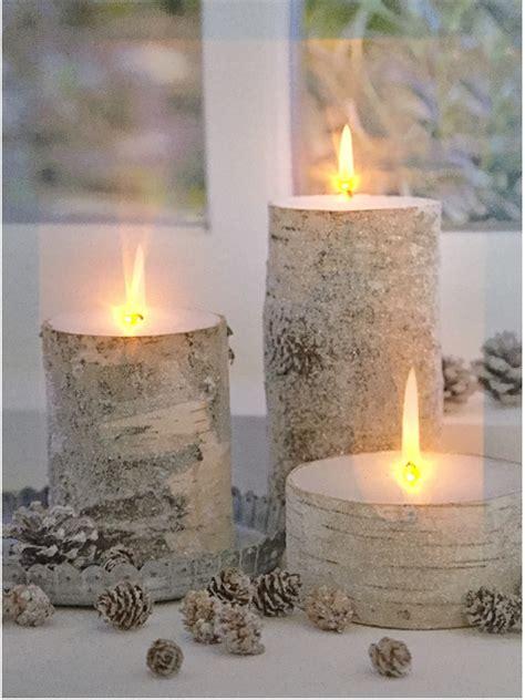Dekoartikel Kerzen by Led Bild Kerzen Birkenstamm Optik Mit 3 Flackernden Led 180 S