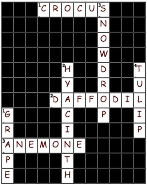 Garden Puzzle Answer Crossword Puzzle Answers