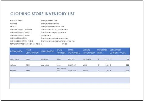 Clothing Store Inventory List Template Word Excel Templates Clothing Store Inventory Spreadsheet Template