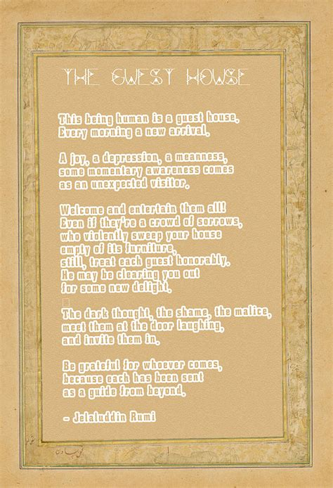 guest house rumi the guest house poem by rumi digital art by celestial images