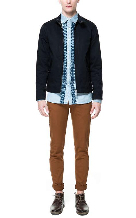 Jacket Zara Basic zara basic cotton jacket in black for navy blue lyst