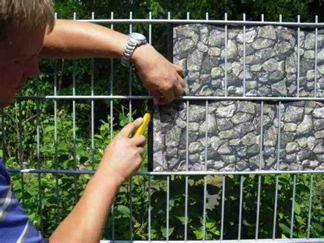 deko zaunblende mit hochwertiger stein gabionenoptik