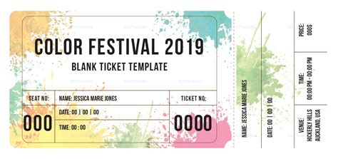 Blank Festival Ticket Design Template In Psd Word Publisher Illustrator Indesign Event Ticket Template Illustrator