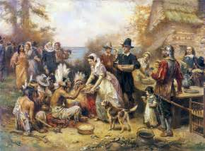 The First Thanksgiving 1621 19th Century American Paintings Pioneers And Settlers